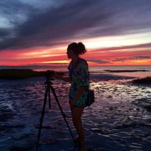 Alison capturing the sunset